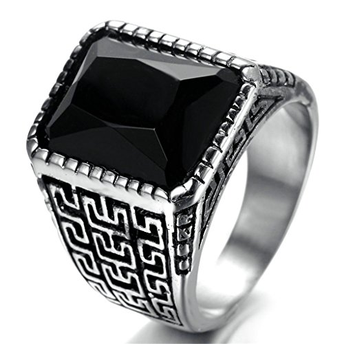 Stainless Steel Ring for Men, Rectangle Ring Gothic Black Band Silver Band 2010MM Size 8 Epinki