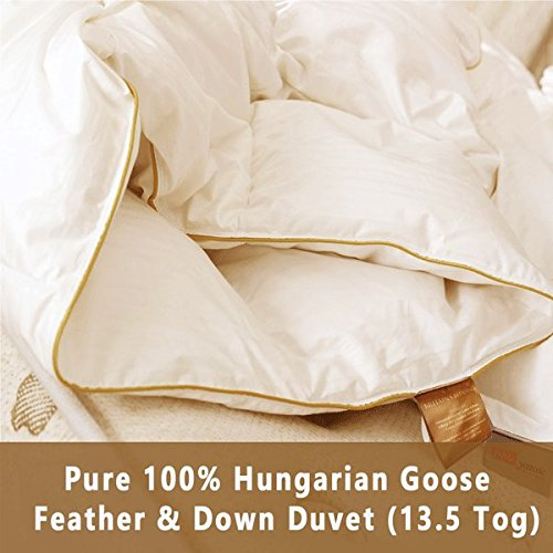 6ebf16e96b8f 100% Pure Luxury Hungarian Goose Feather and Down Duvet / Quilt- 13.5 Tog  All Bed Sizes (King): Amazon.co.uk: Kitchen & Home