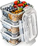 #5: Glass Meal Prep Containers 3 Compartment - Bento Box Containers Glass Food Storage Containers with Lids - Food Containers Food Prep Containers Glass Storage Containers with lids Lunch Containers 3pk