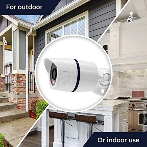 (2 Pack) Fake Security Surveillance Camera Fake CCTV Bullet Camera with Realistic Look Red LED Light Indoor and Outdoor Use, Decoy Camera for Home & Business - by Armo