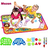 Moson Water Drawing Mat, Drawing Painting Doodle Mat Aqua Magic Mat, Ideal Kids Toys Toddlers Painting Board Writing Mats with 2 Magic Pens and Letter Templates for Boys Girls Gift Size 34.5' X 22.5'