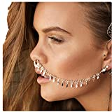 JaneDream Sequins Tassel Link Chain Nose Clip Geometric Personality Punk Earrings