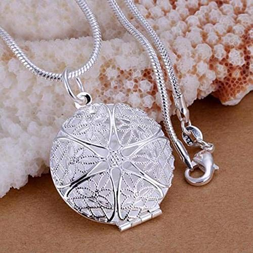 Necklace Opeof Women Silver Plated Photo Locket Hollow Round Pendant Snake Chain Necklace Gift - Silver