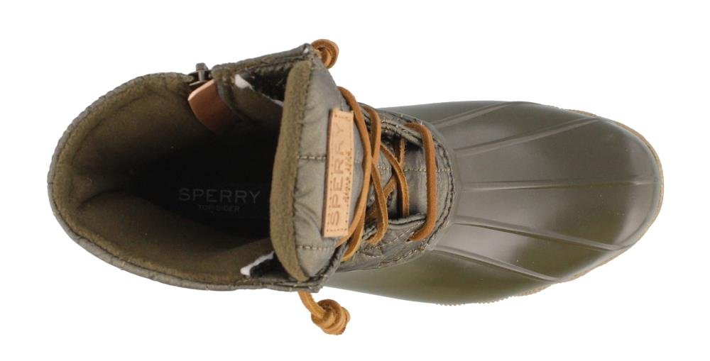 SPERRY Women's, Saltwater Shiny Quilted Rain Boots Olive 5 M by Sperry (Image #2)