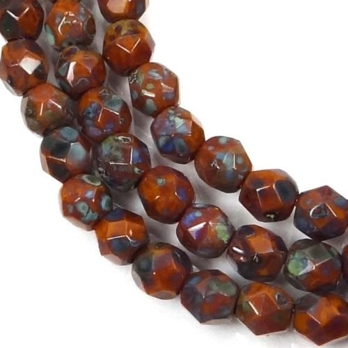 50 Firepolish Czech Glass Faceted Round Beads Goldenrod - Picasso 4mm