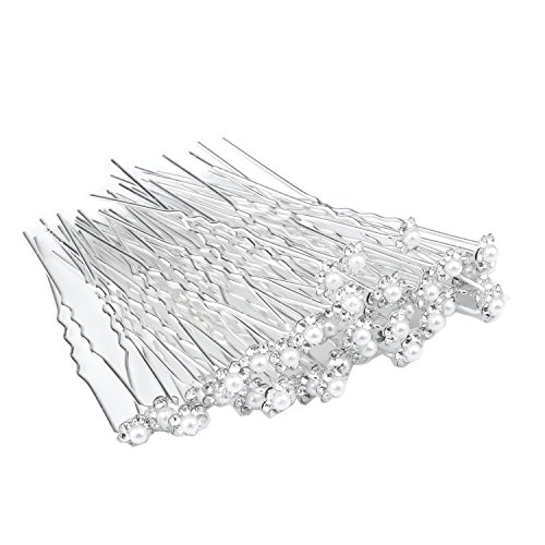 WBCBEC 60 Pcs Wedding Bridal Pearl Flower Crystal Hair Pins Clips, White
