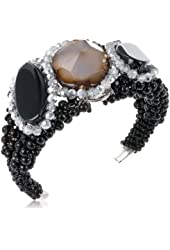 "Panacea Black, White and Grey Statement Flexible Bracelet, 7.5"""