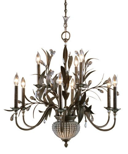 Golden Bronze 9 Light 2 Tier Chandelier With 2 Down Lights From The Cristal De Lisbon Collection