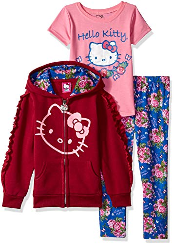 Hello Kitty Girls' Toddler 3 Piece Hooded Set with T-Shirt and Printed Leggings, Burgundy, 3T -