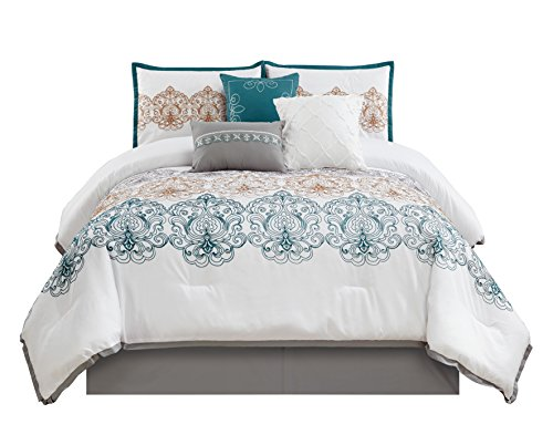 Chezmoi Collection Com Serenity 7-Piece Teal/Gray/White Embroidered Medallion Pattern Bedding Comforter Set (King)