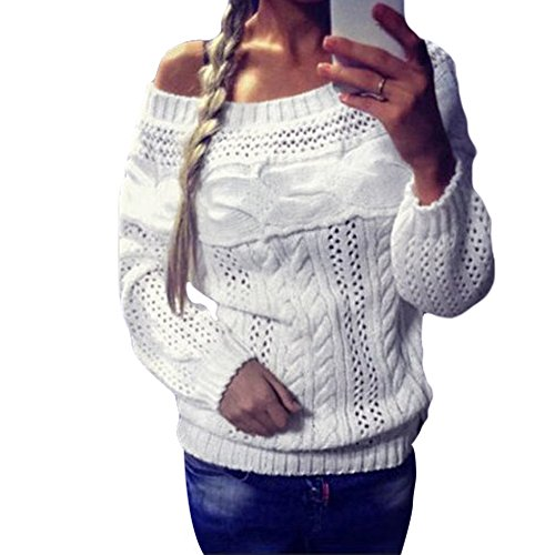 JJyee Women's Off Shoulder Long Sleeve Sweater Loose pullover Knitwear size X-Large (White)