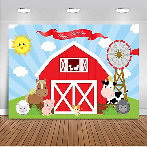 Mocsicka Farm Birthday Backdrop 7x5ft Cartoon Red Farm Animals Photo Backdrops Barn Cow Grass Photography Background ()