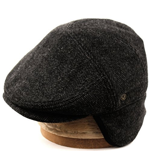 Epoch hats 100% Wool Herringbone Winter Ivy Cabbie Hat w/Fleece Earflaps - Driving Hat (L, IVE2341DK Gray)
