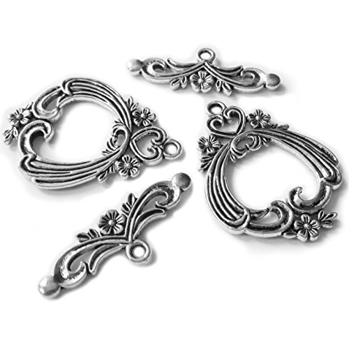 Heather's cf 11 Pieces Silver Tone Flower Heart Big Clasp Toggle Findings Jewelry Making 38X29/35X13mm (Pewter Heart Toggle)
