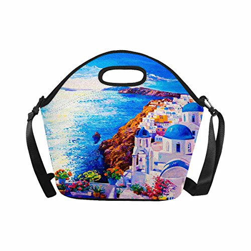 (InterestPrint Beautiful European Cityscape Skyline of Oia Santorini Greece Lunch Bag Waterproof Neoprene Gourmet Insulating Lunch Tote Portable Lunchbox Handbag)