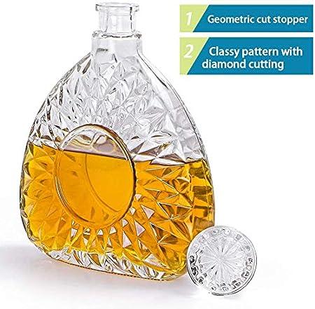 HHORB Botella De Vidrio con Tapa De Vidrio para Whisky, Coñac, Licor Decantador De Whisky Decantador De Botellas De Whisky 500 Ml