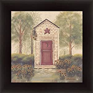 Folk art outhouse iii by pam britton country for Bathroom art amazon
