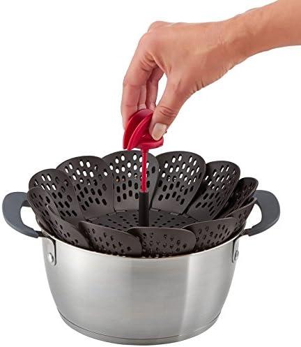 Tefal K2071614 Ingenio Panier Vapeur Silicone Noir et Rouge /& K2072214 Ingenio Cuill/ère Glace Aluminium Chrom/é avec Angle Circulaire ustensile de Cuisine Noir et Rouge sans bisph/énol A
