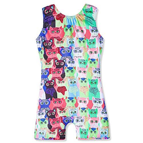 Leotards for Girls Gymnastics 3t 4t Dancewear Cute Unicorn Clouds Athletic Biketard Purple Pink Blue (Cute Owl, 100(3-4 Years Old))