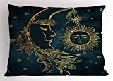 Ambesonne Psychedelic Pillow Sham by, Crescent Moon with Boho Feathers Alchemy Magic Egyptian Myth Design, Decorative Standard Size Printed Pillowcase, 26 X 20 Inches, Golden Petrol Blue