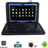 Tagital 7 Quad Core Android 4.4 KitKat Tablet PC, Dual Camera, Play Store Pre-installed, 2017 Newest Model Bundled with Keyboard (Blue)
