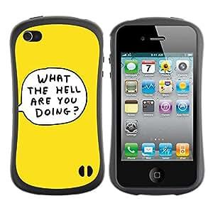 Suave TPU GEL Carcasa Funda Silicona Blando Estuche Caso de protección (para) Apple Iphone 4 / 4S / CECELL Phone case / / Yellow Cartoon Bubble What The Hell Doing /