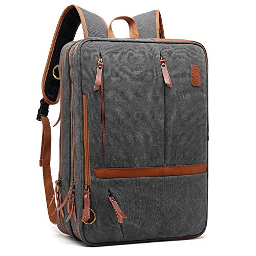 CoolBELL Convertible Messenger Bag Backpack Shoulder Bag Laptop Case Handbag Business Briefcase Multi-Functional Travel Rucksack Fits 17.3 Inch Laptop for Men/Women (Canvas Dark Grey)