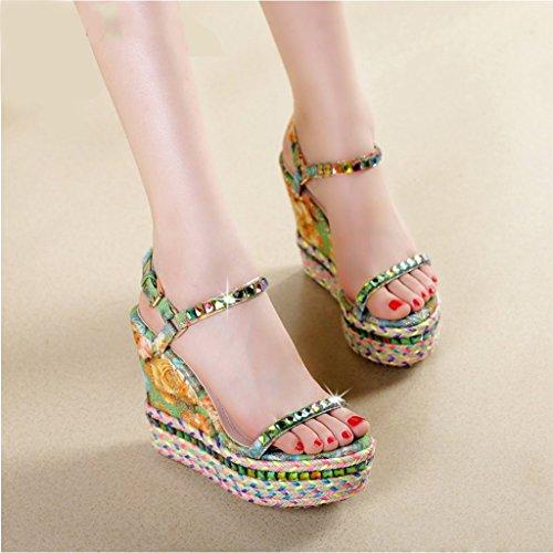 Estilo Alto 37 Con Nuevo Bohemia Diamantes 11 Prueba Tamaño Agua Sandalias 5 Verano Mujer De Zapatos Imitación size Cm Pequeño Paja Pendiente A pRntqwf