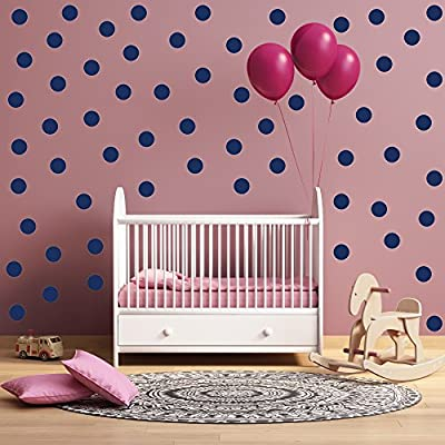 """(45) 4"""" Dark Blue Polka Dot Decals - Removable Peel and Stick Circle Wall Decals for Nursery, Kids Room, Mirrors, and Doors"""
