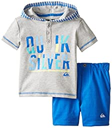 Quiksilver Baby Boys\' Hoody with Blue Shorts, Gray, 12 Months