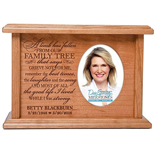 Cremation Urns for Human Ashes SMALL Memorial Keepsake box for cremains, personalized Urn for adults and children ashes A limb has fallen from our FAMILY TREE SMALL portion of ashes - Limb Phillip
