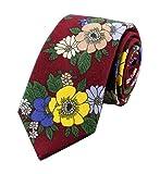 Men Burgundy Red Ties Maroon Floral Printed Autumn Winter Neckties in Skinny Cut