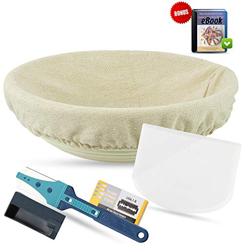 Bread Basket Replacement Liner - Baking Tools for Artisan Bread - Round Banneton Proofing Basket 9 Inch Handmade Rattan with Cotton Liner; Bread Lame, 10-Pk Blades, Flexible Food Grade Bowl Scraper and Bread Recipes - Bundle