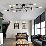 Ceiling Light, MKLOT Ecopower Vintage Barn Semi Flush Mount Large Ceiling Light Black Metal Steel Painted Finish with 8 Lights use E26 Bulb Sockets