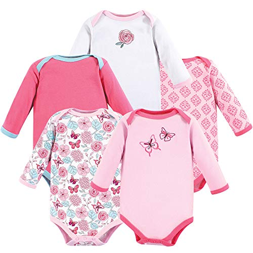 (Luvable Friends Unisex Baby Long Sleeve Cotton Bodysuits, Butterfly 5 Pack, 9-12 Months (12M) )