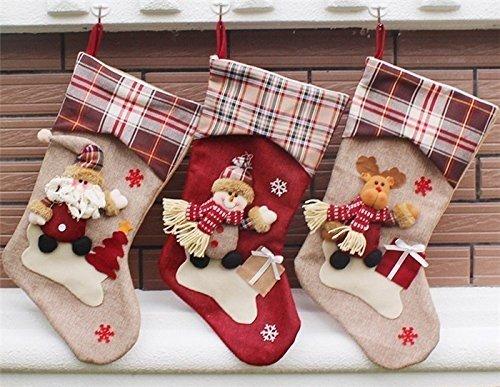 the love 3 Pcs Set Classic Christmas Stockings Santa Claus Snowmen Elk Christmas decorations (C) by the love (Image #2)