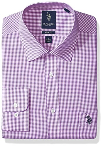 U.S. Polo Assn. Men's Slim Fit Check Semi Spread Collar Dress Shirt, Gingham Check Purple/White, 16