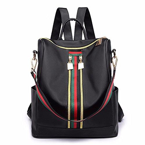 MSZYZ Doble propósito femenino bolso bolsa blanda de cuero de moda casual de personalidad única,bolso negro/d black/d