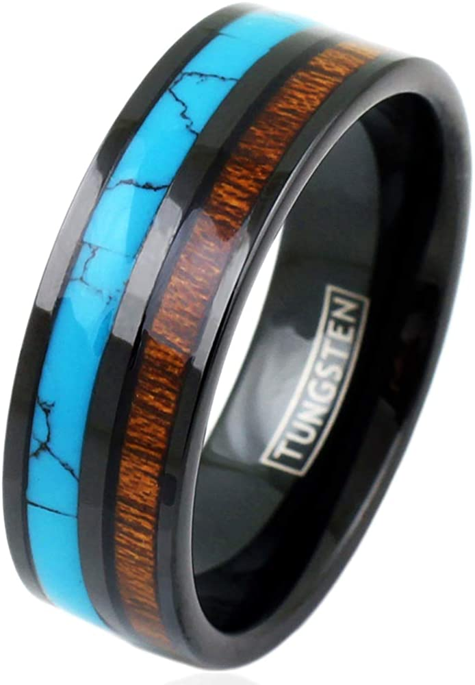 FREE SHIPPING Custom Engraved Black Tungsten Wedding Band Black Tungsten Wedding Ring Tungsten Band with Imitation Meteorite Texture Inlay