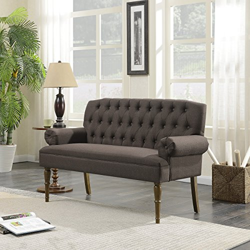 Belleze English Style Vintage Button Tufted Settee Living Room Bench Loveseat Sofa Solid Wood Legs, Brown
