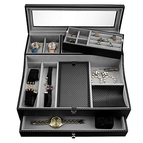 Jewelry Valet Tray for Men| Sleek Dresser-Organizer Box for Storage & Display| Perfect for Phone, Watches, Sunglasses, Jewelry, Wallet, Rings, Necklace & More| Carbon Fiber & Faux Leather