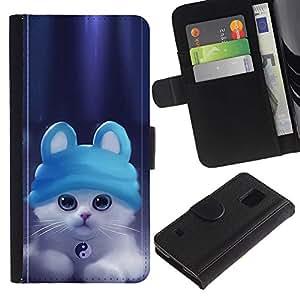 A-type (Lindo gatito Ying Yang Gato) Colorida Impresión Funda Cuero Monedero Caja Bolsa Cubierta Caja Piel Card Slots Para Samsung Galaxy S5 V SM-G900
