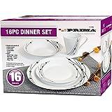 16PC DINNER SET BOWL PLATE MUG SOUP SIDE PORCELAIN CUP GIFT KITCHEN SERVICE NEW (BLACK PATTERNS)