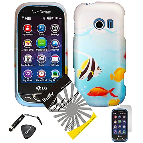 4 items Combo: ITUFFY (TM) LCD Screen Protector Film + Mini Stylus Pen + Case Opener + Blue Ocean Saltwater Yellow Angel Nemo Fish Design Rubberized Snap on Hard Shell Cover Faceplate Skin Phone Case for LG Extravert 2 VN280 (Fish)