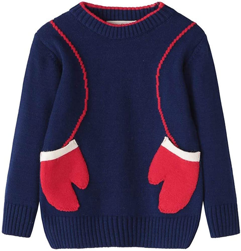 Vinjeely Girls Winter Clothes Sloid with Pocket Warm Tops 2-7T Girls Knitted Sweater