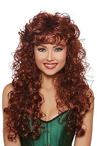 (Dreamgirl Women's Long Curly Auburn Wig, One)