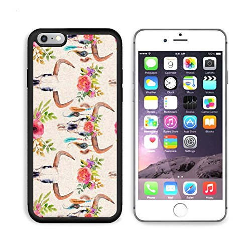 Luxlady Apple iPhone 6 Plus iPhone 6S Plus Aluminum Backplate Bumper Snap iphone6plus/6splus Case ID: 40221634 Watercolor bull skull with flowers and feathers seamless background pattern