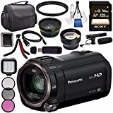 Panasonic HC-V770 HC-V770K Full HD Camcorder + Sony 128GB SDXC Card + Flexible Tripod + Carrying Case + Memory Card Wallet + Card Reader + Mini HDMI Cable + LED Light + Condenser Mic Bundle