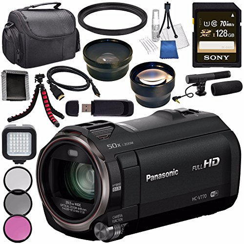 Panasonic HC-V770 HC-V770K Full HD Camcorder + Sony 128GB SDXC Card + Flexible Tripod + Carrying Case + Memory Card Wallet + Card Reader + Mini HDMI Cable + LED - Panasonic Cable Hdmi