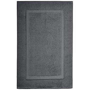 Pinzon Luxury Banded Bath Mat - Platinum